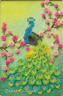 Картина, панно, Мастер-класс Квиллинг: Царская птица + mini МК. Бумага, Пастель, Бумажные полосы День рождения. Фото 13