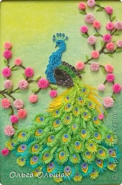 Картина, панно, Мастер-класс Квиллинг: Царская птица + mini МК. Бумага, Пастель, Бумажные полосы День рождения. Фото 1