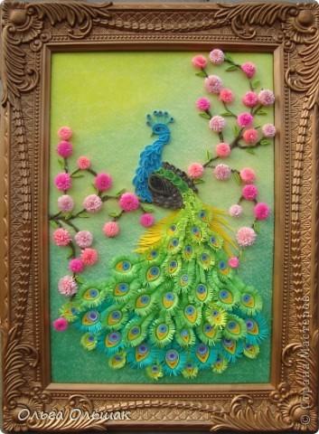 Картина, панно, Мастер-класс Квиллинг: Царская птица + mini МК. Бумага, Пастель, Бумажные полосы День рождения. Фото 14