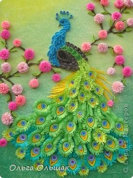 Картина, панно, Мастер-класс Квиллинг: Царская птица + mini МК. Бумага, Пастель, Бумажные полосы День рождения. Фото 2