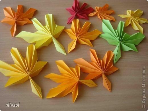 Мастер-класс,  Оригами, : Гофрированный листок клена. Бумага Деньучителя, . Фото 2