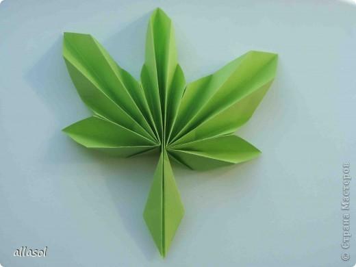 Мастер-класс,  Оригами, : Гофрированный листок клена. Бумага Деньучителя, . Фото 13