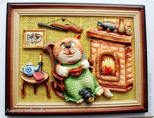 Картина, панно Лепка, Роспись: Кот в отпуске Акварель, Гуашь, Тесто соленое 23 февраля, День рождения. Фото 2