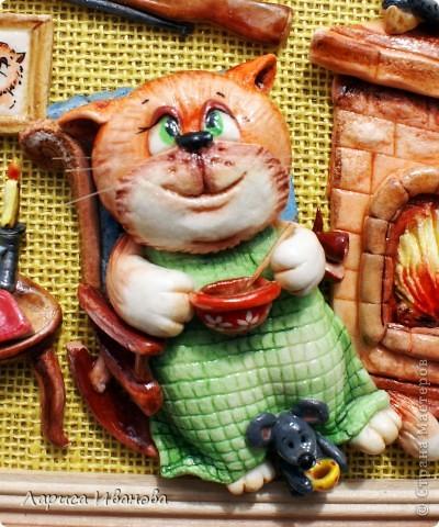 Картина, панно Лепка, Роспись: Кот в отпуске Акварель, Гуашь, Тесто соленое 23 февраля, День рождения. Фото 3