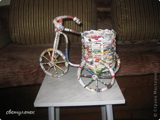 Поделка велосипед из трубочек