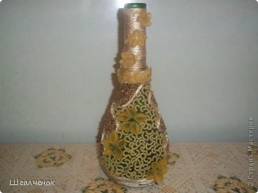 Декор предметов, Мастер-класс,  Аппликация, : КРАСАВИЦА МК Бутылки, Краска, Крупа . Фото 5