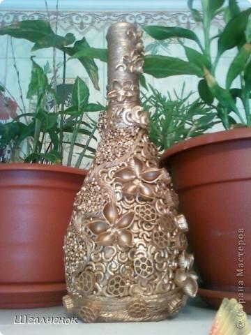 Декор предметов, Мастер-класс,  Аппликация, : КРАСАВИЦА МК Бутылки, Краска, Крупа . Фото 8