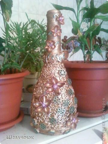 Декор предметов, Мастер-класс,  Аппликация, : КРАСАВИЦА МК Бутылки, Краска, Крупа . Фото 1