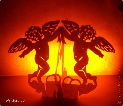 """Вырезание, Вырезание силуэтное, Вырезание симметричное: """"Вечерний ангел"""" + схема Бумага Валентинов день, День защиты детей, День матери, День рождения, Рождество. Фото 2"""