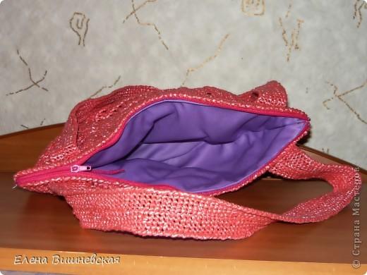 Поделка, изделие Вязание крючком: Очередная сумочка из мусорных пакетов.