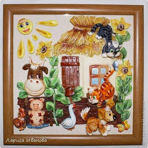 Картина, панно,  Лепка, Роспись, : Работы в детский центр Акварель, Гуашь, Тесто соленое Новый год, . Фото 10