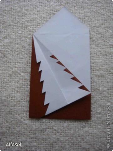 Мастер-класс, Открытка Оригами: Новогодняя открытка. Бумага Новый год, Рождество. Фото 18