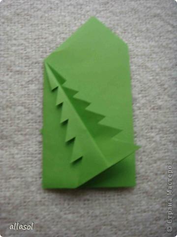 Мастер-класс, Открытка Оригами: Новогодняя открытка. Бумага Новый год, Рождество. Фото 20