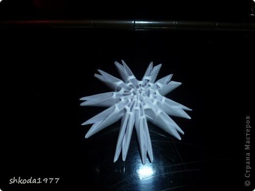 Мастер-класс Оригами модульное: Снежинки из модулей +мини МК Бумага Новый год. Фото 6