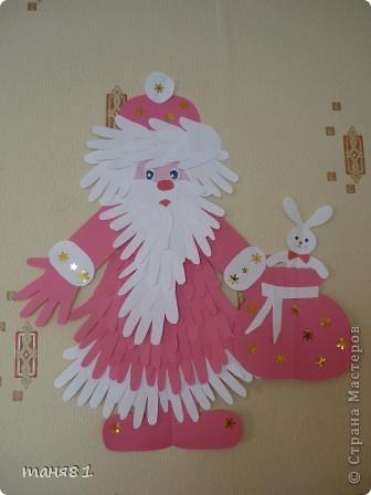 Поделка, изделие, Раннее развитие Аппликация из«ладошек»: Дед Мороз и ёлочка Бумага Новый год. Фото 1