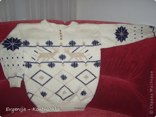 Гардероб Вязание спицами: Схемы свитеров с оленями.  Шерсть.  Фото 5.