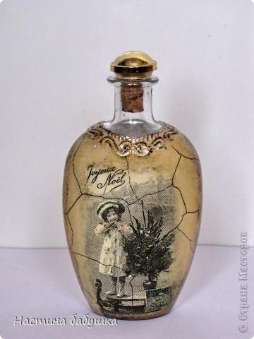 Декор предметов,  Декупаж, : Старый Новый год Бутылки, Клей, Краска, Салфетки, Свечи Новый год, . Фото 7