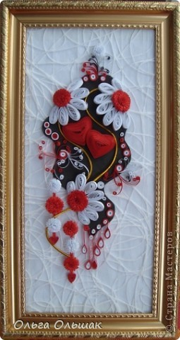 Картина, панно, Квиллинг, : Два сердца. Бумага, Материал оберточный, Полосы бумажные Валентинов день, День семьи, Свадьба, . Фото 1