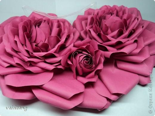 Вот пришла идея сделать из роз валентинку.МК на розы я уже выкладывала.Вам понадобиться:бумага А4-15-18 листов ,узкая тесьма  или лента 45 см,нитка   в два сложения ,картон плотный,клей  и нож канцелярский.. Фото 7