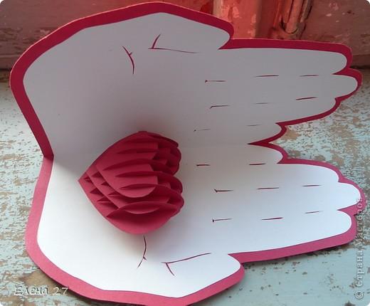 Открытка Киригами, pop-up: Сердце в руках Бумага Валентинов день, Свадьба. Фото 2