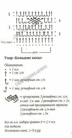 """Узор  """"Косичка """" ассоциируется с вязанием спицами, но его можно связать и..."""
