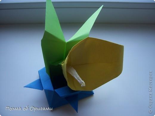 Как сделать каллу из бумаги оригами