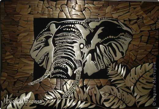 Картина, рисунок, панно Аппликация: Львица; Ветер и солнце;Слон; Львинная нежность; З/з СКОРПИОН и БЛИЗНЕЦЫ. Соломка. Фото 3
