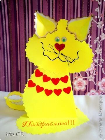 Поделка, изделие Бумагопластика: Котики из сердечек. Бумага Валентинов день. Фото 2