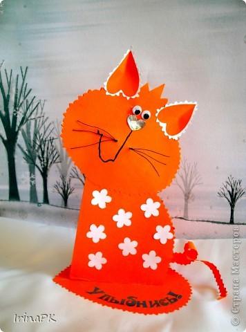 Поделка, изделие Бумагопластика: Котики из сердечек. Бумага Валентинов день. Фото 1
