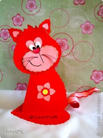Поделка, изделие Бумагопластика: Котики из сердечек. Бумага Валентинов день. Фото 3