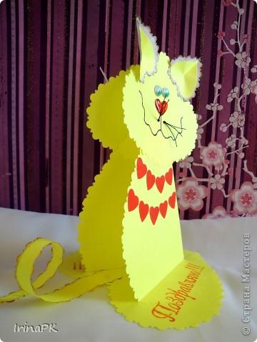 Поделка, изделие Бумагопластика: Котики из сердечек. Бумага Валентинов день. Фото 5