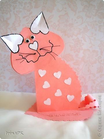 Поделка, изделие Бумагопластика: Котики из сердечек. Бумага Валентинов день. Фото 4