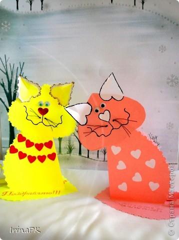 Поделка, изделие Бумагопластика: Котики из сердечек. Бумага Валентинов день. Фото 6