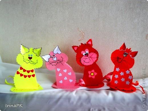 Поделка, изделие Бумагопластика: Котики из сердечек. Бумага Валентинов день. Фото 7
