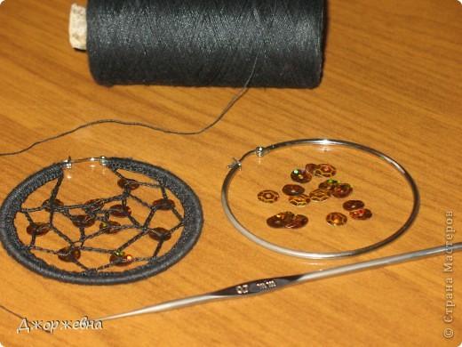 Поделка, изделие Вязание крючком: Сережки Нитки, Пайетки.  Фото 2.