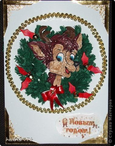 Открытка Квиллинг: Поздравительная открытка на Новый год Бумага, Бусинки, Бумажные полосы Новый год. Фото 2