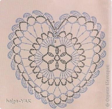Hack, prodotto Applique, Crochet: San Valentino-Crochet con i diagrammi.  Dischi per computer, cartone, colla, nastro, Filati, giorno di San Valentino Scotch.  Foto 12