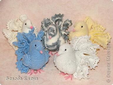 Игрушка Вязание крючком: Голубки Пряжа 8 марта. Фото 1