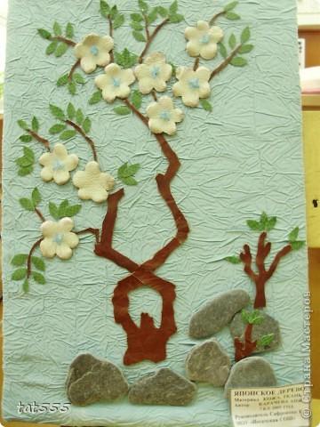Картина, панно, рисунок Аппликация: Японское дерево Кожа.