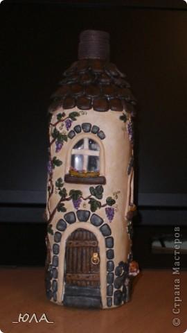 Декор предметов, Лепка, : Дом из бутылки Краска, Тесто соленое . Фото 2