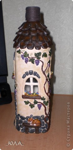 Декор предметов, Лепка, : Дом из бутылки Краска, Тесто соленое . Фото 3