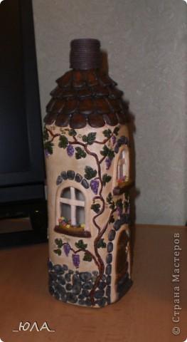 Декор предметов, Лепка, : Дом из бутылки Краска, Тесто соленое . Фото 1