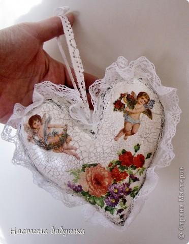 Поделка, изделие,  Декупаж, Шитьё, : Сердце в подарок Краска, Кружево, Салфетки, Ткань