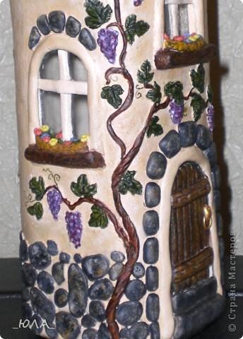 Декор предметов, Лепка, : Дом из бутылки Краска, Тесто соленое . Фото 6