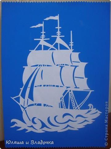 Вытынанка корабль с парусами