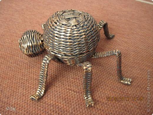 Поделка, изделие Плетение: Шкатулка-паук Бумага газетная. Фото 2
