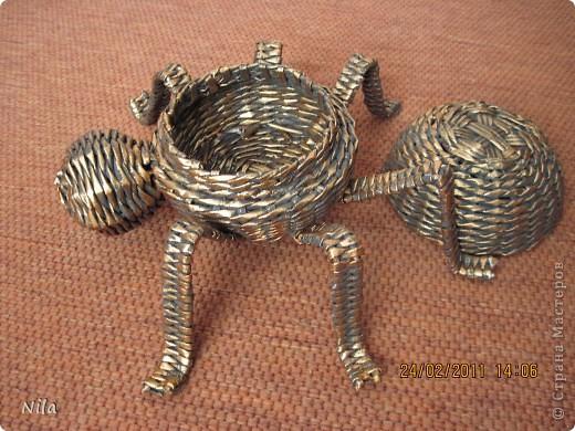 Поделка, изделие Плетение: Шкатулка-паук Бумага газетная. Фото 4