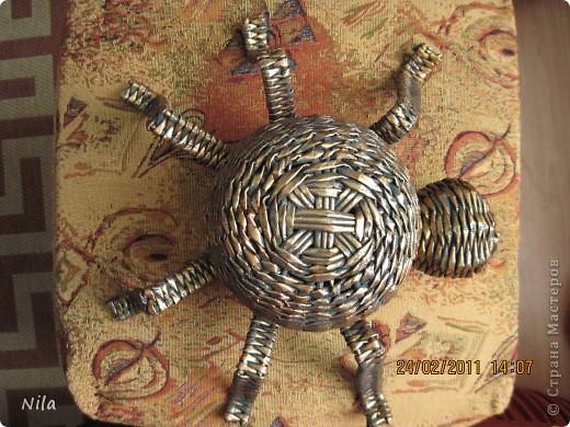 Поделка, изделие Плетение: Шкатулка-паук Бумага газетная. Фото 3