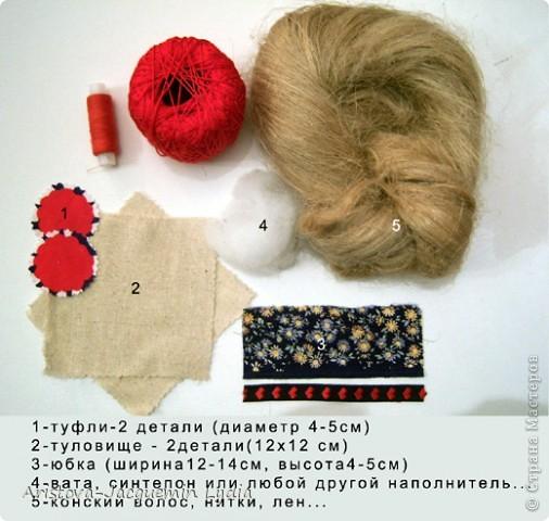 Куклы, Мастер-класс, Оберег: Кукла-счастье Вата, Нитки, Тесьма, Ткань. Фото 2