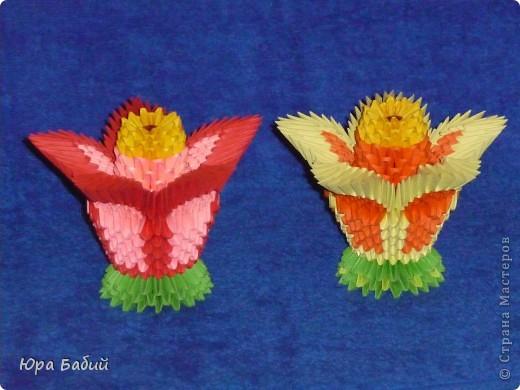Поделки цветов из треугольных модулей